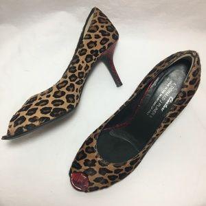 Open Toe Leopard print fur red medium heel EUC